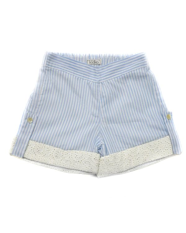Blue striped cutwork folded shorts 1