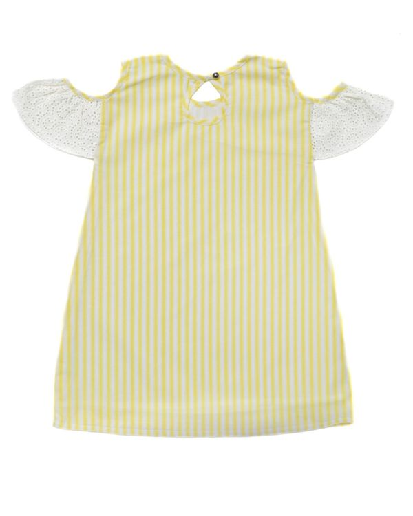 Yellow striped cold shoulder dress 1