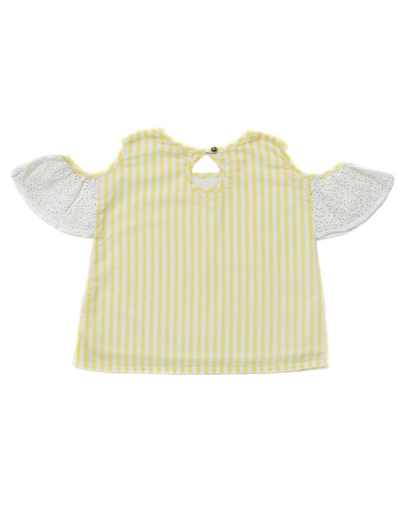 Yellow striped cold shoulder top 2