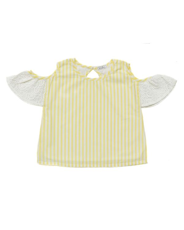 Yellow striped cold shoulder top 1