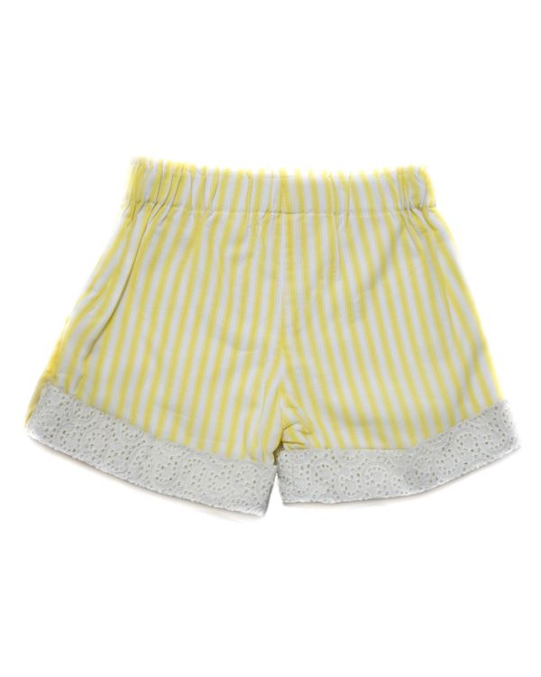 Yellow striped cutwork folded shorts 1