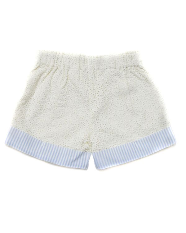 Cream and blue striped cutwork shorts 2