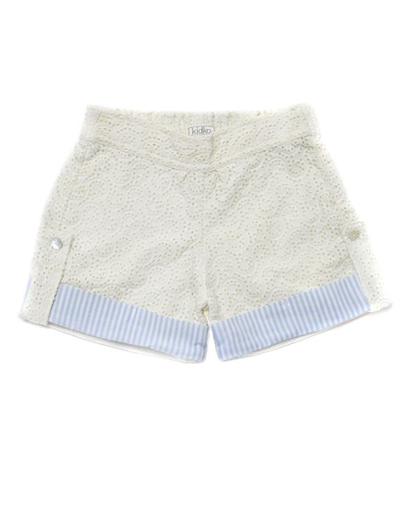 Cream and blue striped cutwork shorts 1