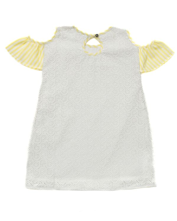Cream and yellow cutwork cold shoulder dress 2