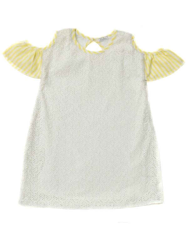Cream and yellow cutwork cold shoulder dress 1