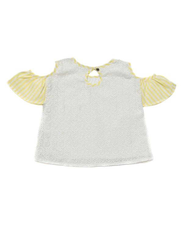 Cream and yellow cutwork cold shoulder top 2