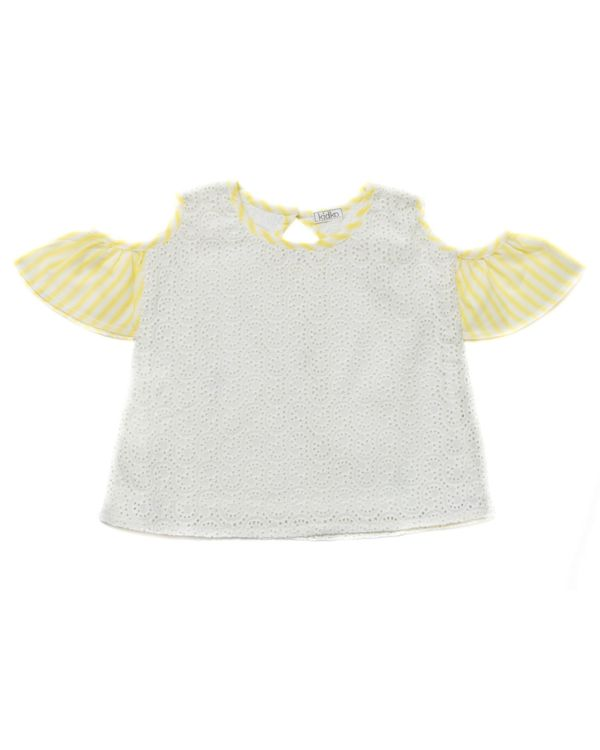 Cream and yellow cutwork cold shoulder top 1