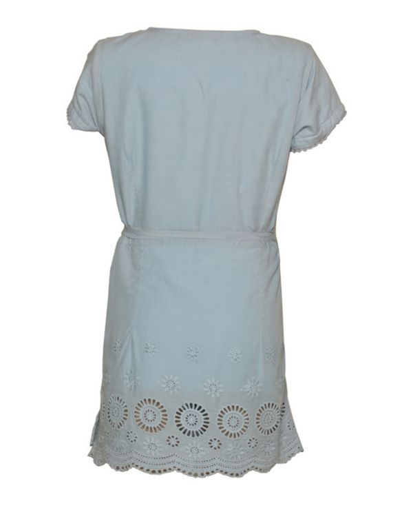 Powder blue cut work wrap dress 2