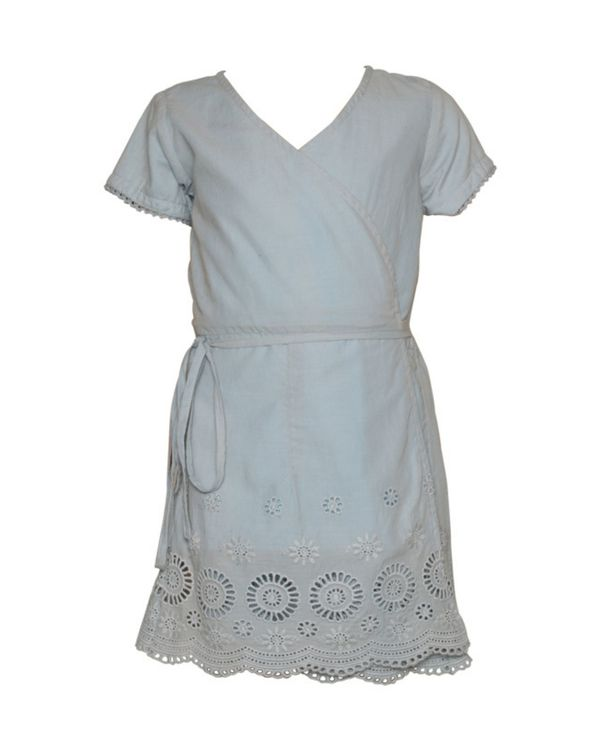 Powder blue cut work wrap dress 1