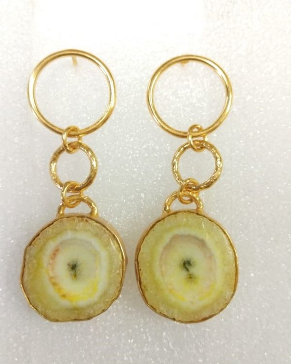 Yellow solar hoop earring 1