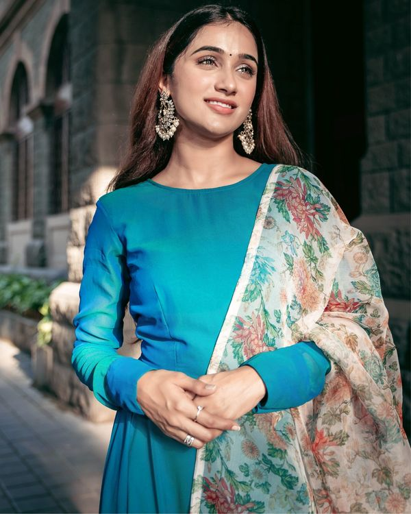 Turquoise georgette flared dress with floral organza dupatta - Set Of Two 1
