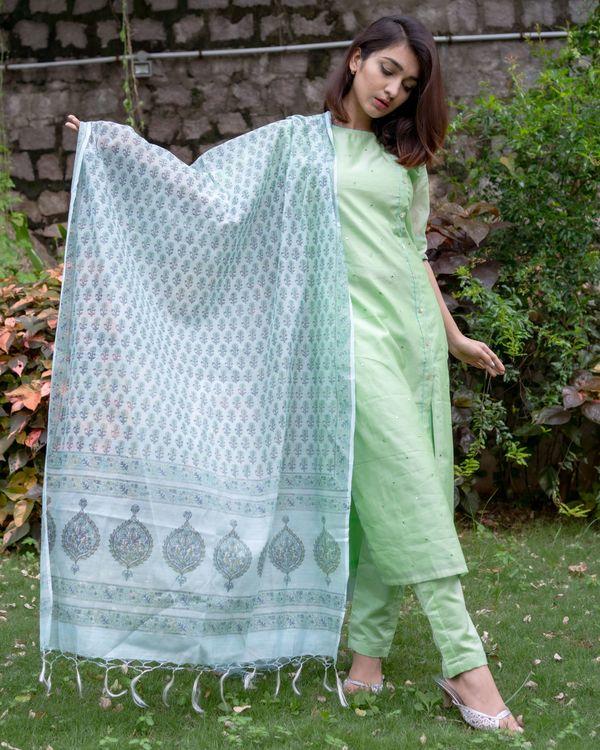 Light green mirror work kurta and pants with floral printed dupatta - Set Of Three 4