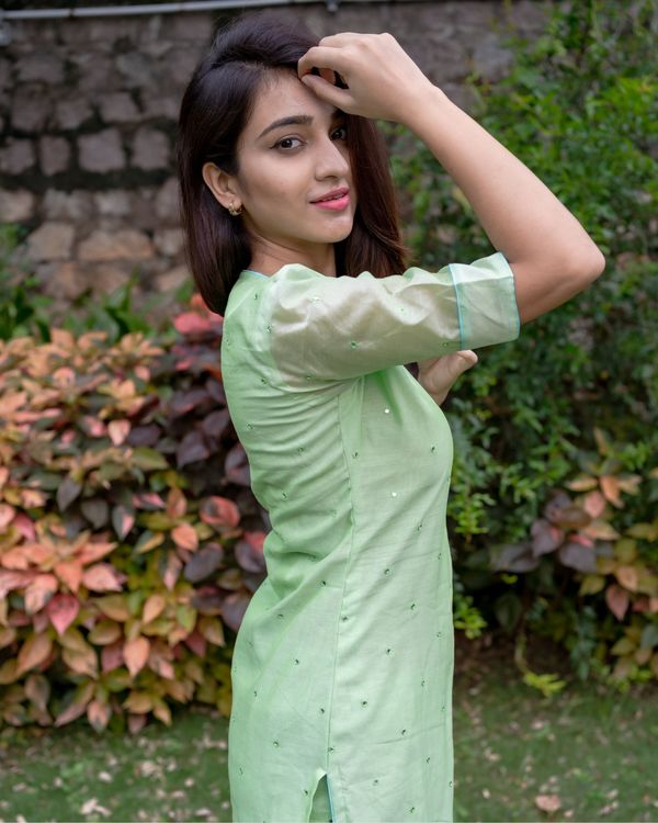Light green mirror work kurta and pants with floral printed dupatta - Set Of Three 2