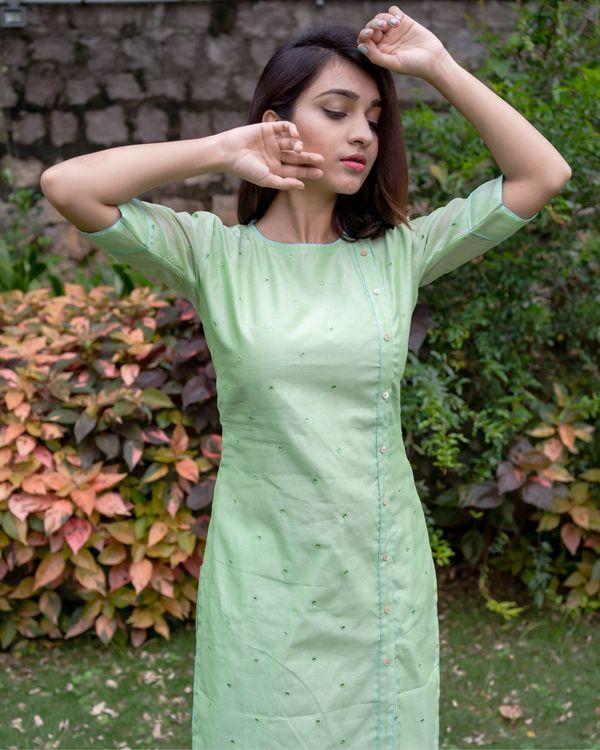 Light green mirror work kurta and pants with floral printed dupatta - Set Of Three 1