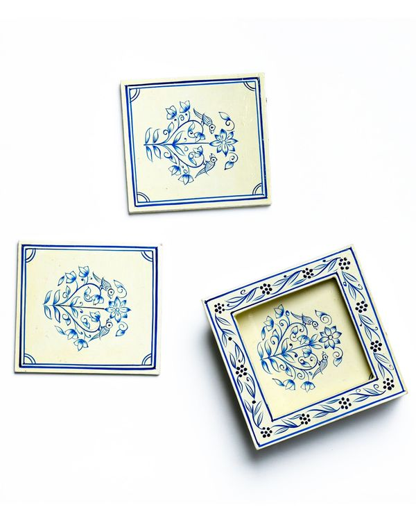 White and blue hand painted coasters with stand - Set Of Five 1