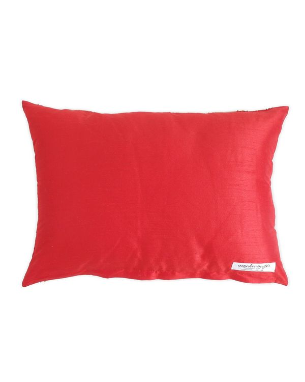 Red embroidered hand beaded cushion cover 2