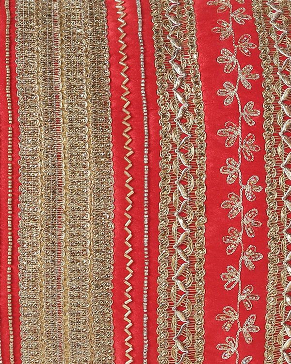 Red embroidered hand beaded cushion cover 1