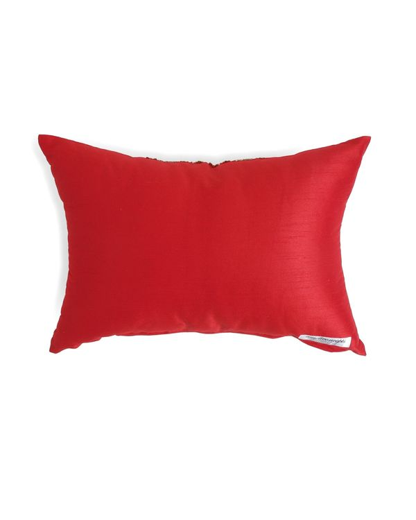 Red beaded zari lace cushion cover 2
