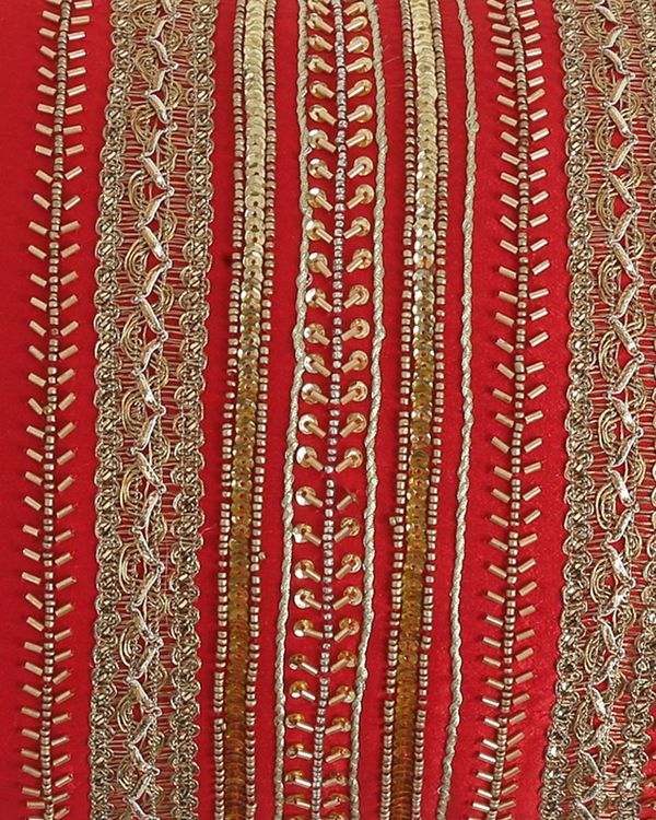 Red beaded zari lace cushion cover 1