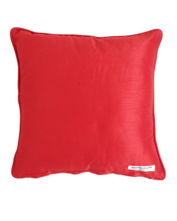 Red block printed beaded cushion cover 2