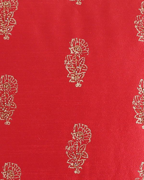 Red block printed beaded cushion cover 1