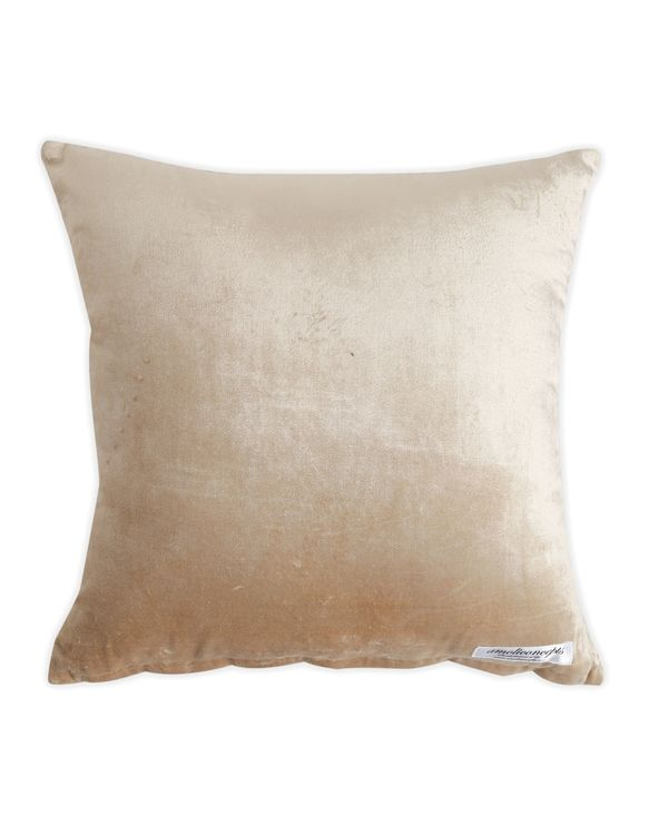 Beige floral motif embroidered cushion cover 2