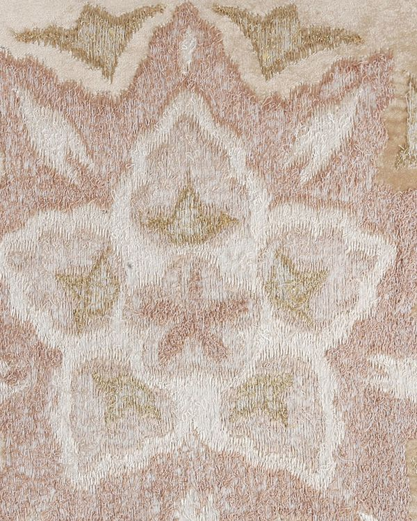 Beige floral motif embroidered cushion cover 1