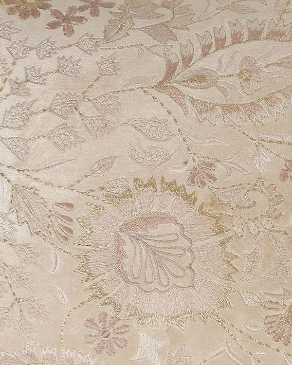 Beige floral and leaf embroidered cushion cover 1