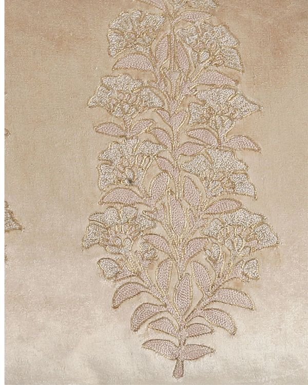Beige floral embroidered cushion cover 1