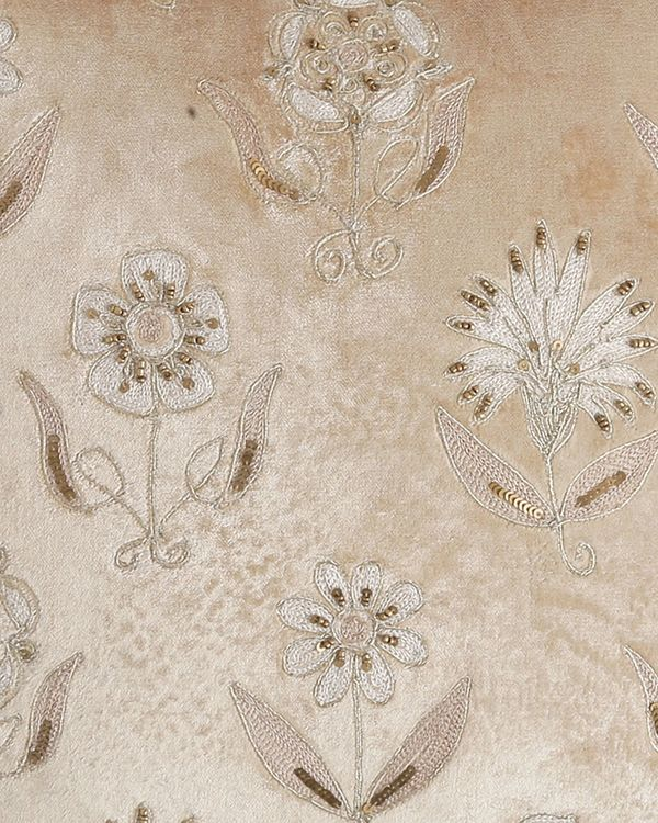 Beige floral beaded embroidered cushion cover 1