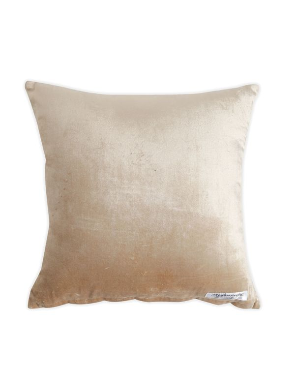 Beige zari embroidered cushion cover with hand bead work 2
