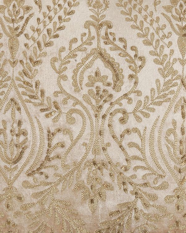 Beige zari embroidered cushion cover with hand bead work 1