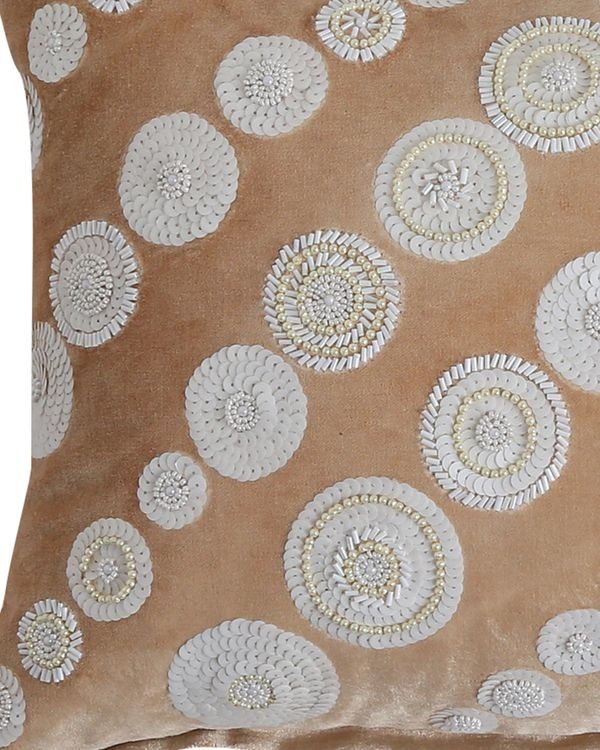 Beige and white sequined beaded cushion cover 1