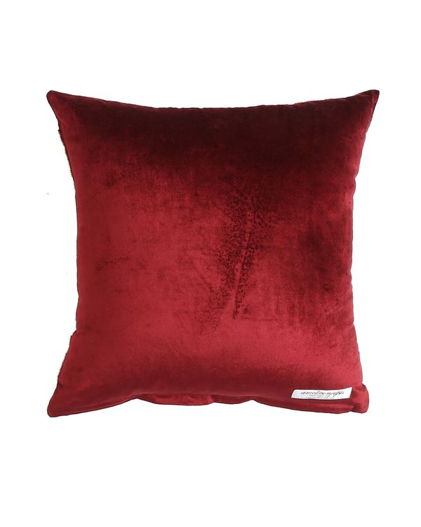 Burgundy embroidered hand beaded cushion cover 2