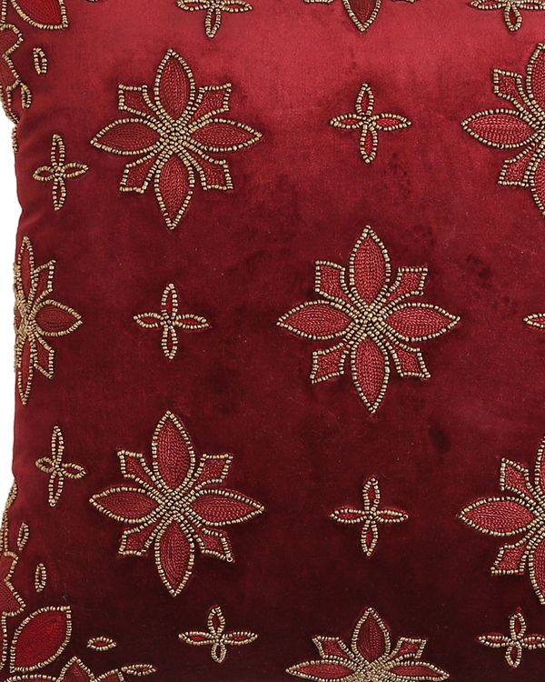 Burgundy embroidered hand beaded cushion cover 1