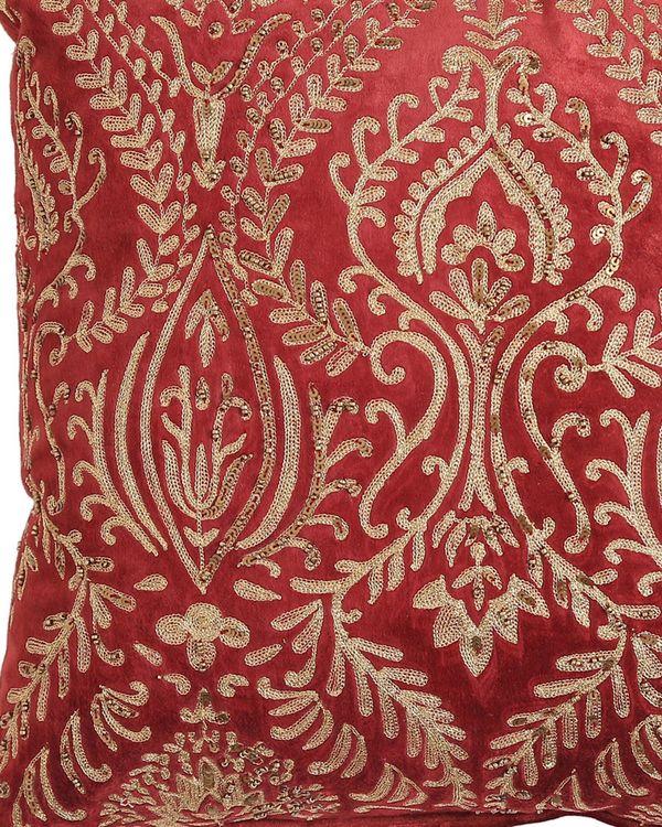 Burgundy zari embroidered cushion cover 1