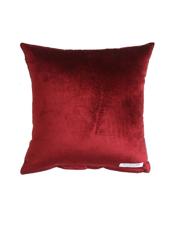 Burgundy floral motif embroidered cushion cover 2