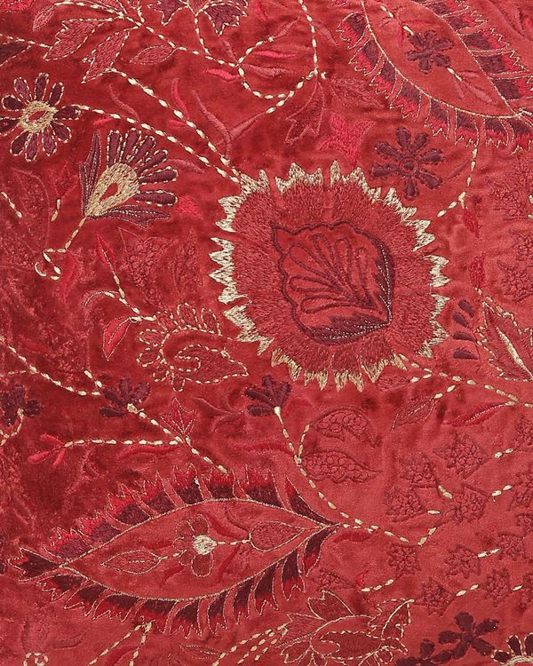 Burgundy floral motif embroidered cushion cover 1