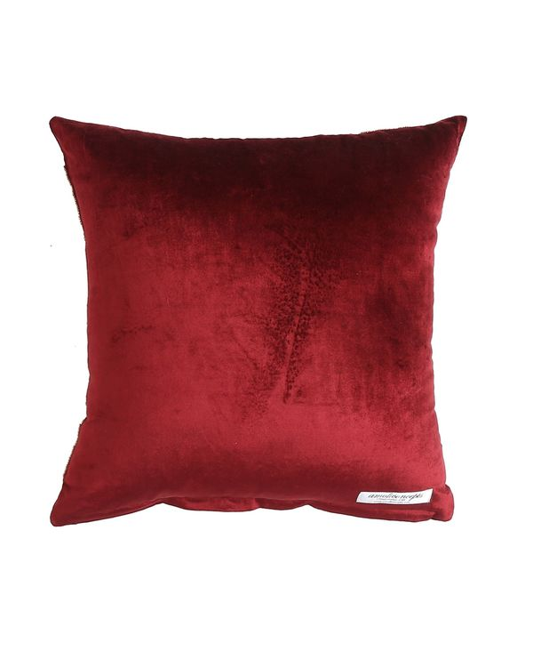 Burgundy floral motif hand beaded cushion cover 2
