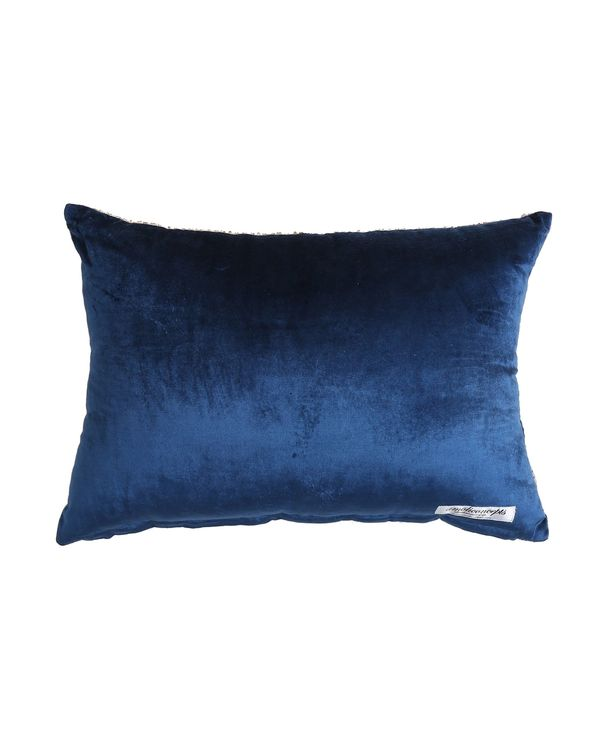 Beige and blue ombre beaded cushion cover 2