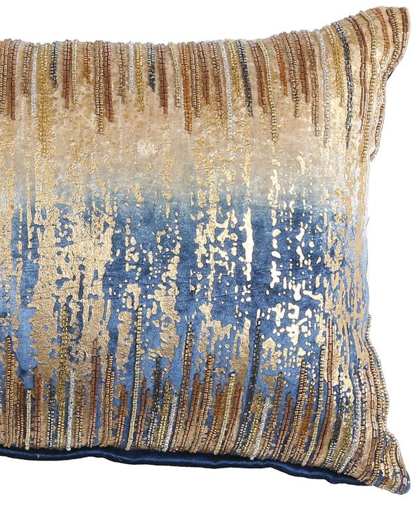 Beige and blue ombre beaded cushion cover 1