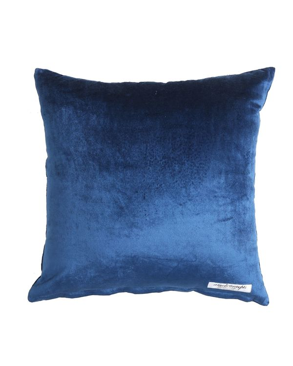 Blue zari embroidered beaded cushion cover 2