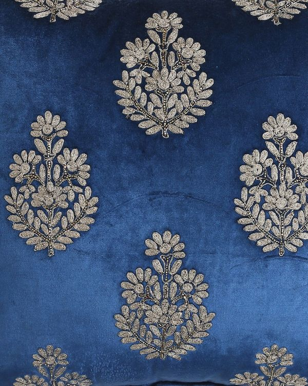 Blue zari embroidered beaded cushion cover 1