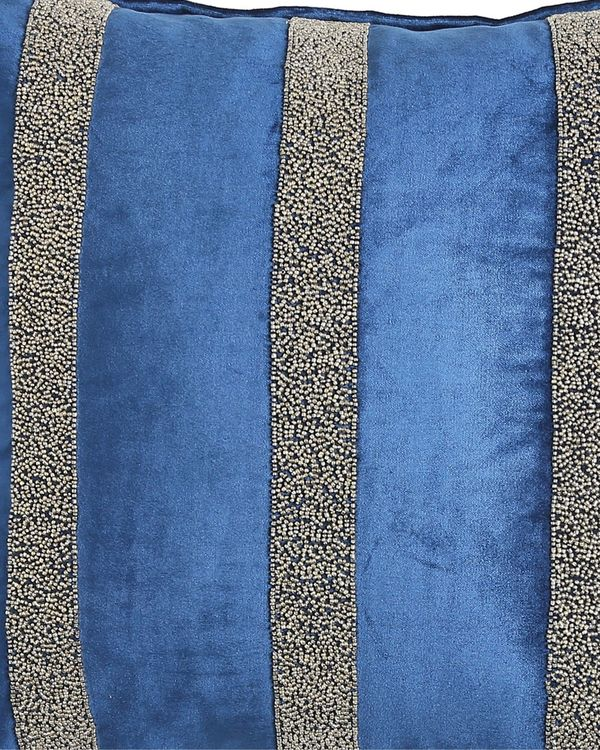 Blue striped hand beaded cushion cover 1