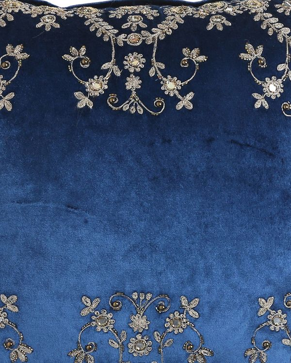 Blue zari embroidered sequined cushion cover 1