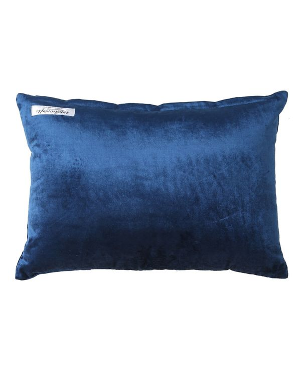 Blue zari embroidered cushion cover 2