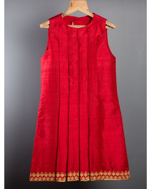 Red box pleated dress 2