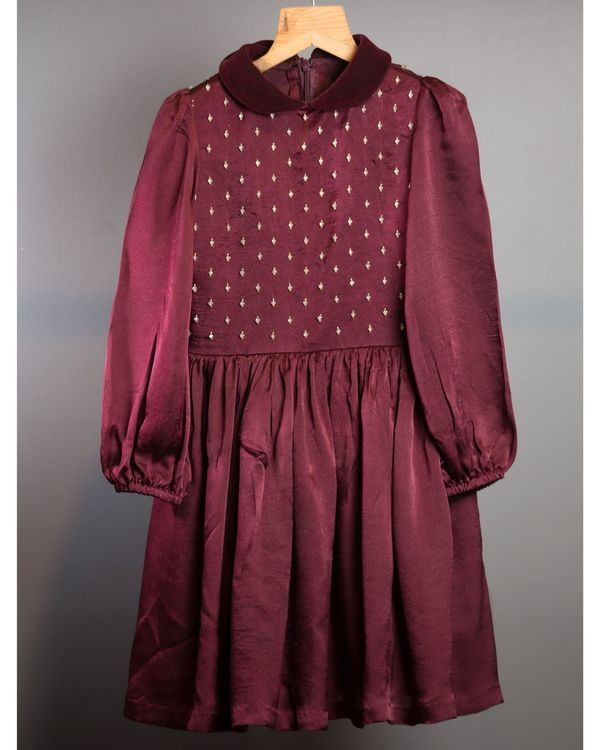 Wine georgette silk dress 3
