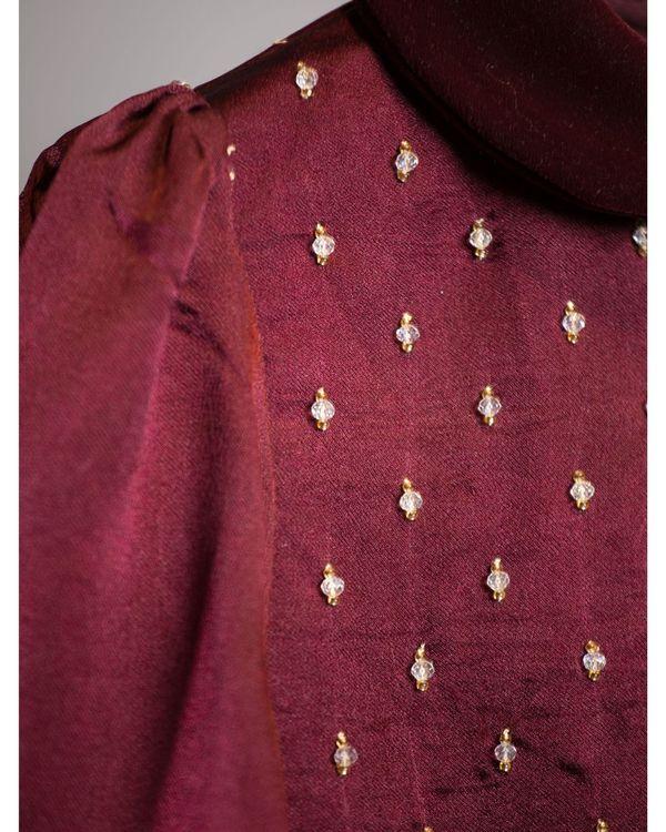 Wine georgette silk dress 2