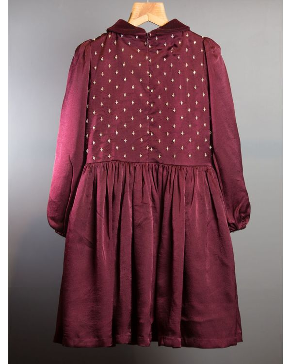 Wine georgette silk dress 1